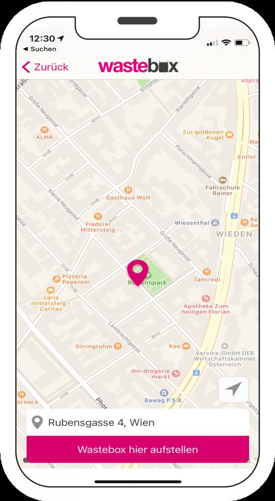 wastebox app Bestellvorgang Mockup am Smartphone Schritt 1