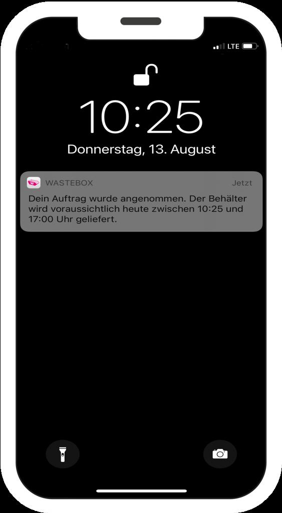wastebox app Bestellvorgang Mockup am Smartphone Schritt 2