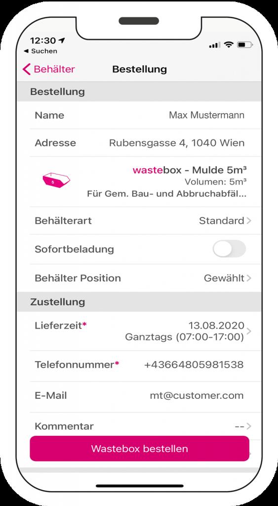 wastebox app Bestellvorgang Mockup am Smartphone Schritt 3