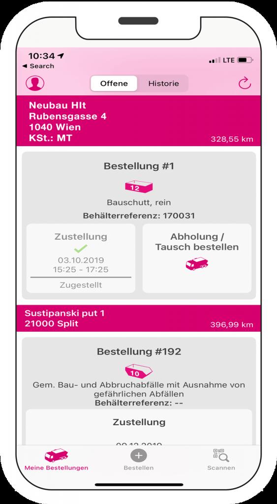 wastebox app Bestellvorgang Mockup am Smartphone Schritt 4
