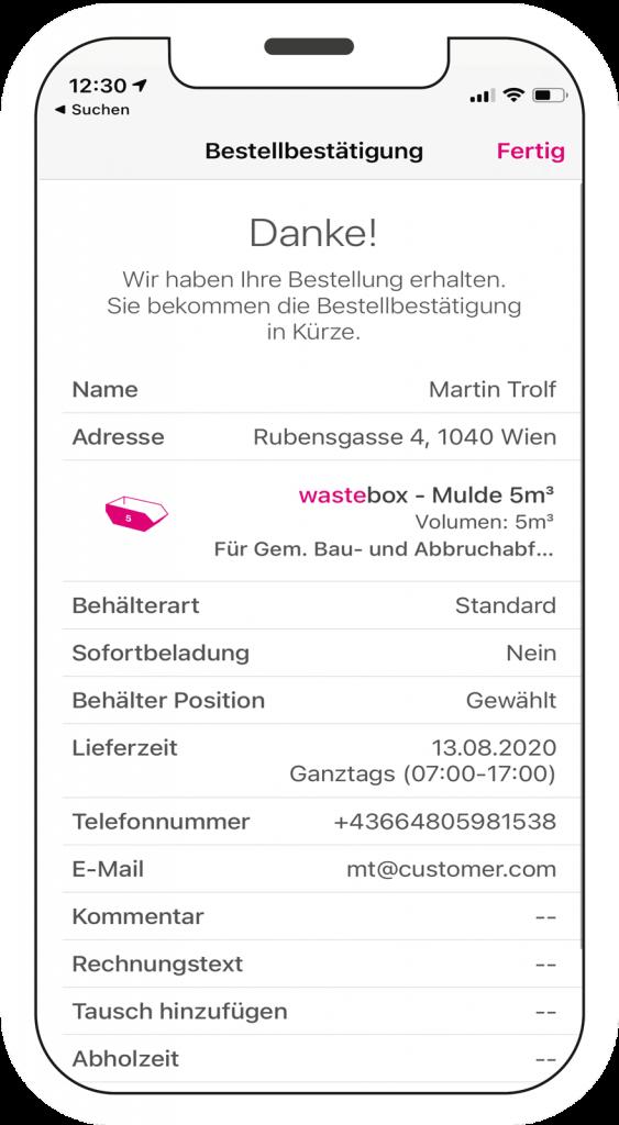 wastebox app Bestellvorgang Mockup am Smartphone Schritt 5