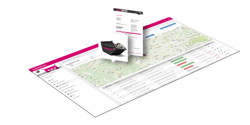 wastebox Webportal Screen für die Auftragsübersicht