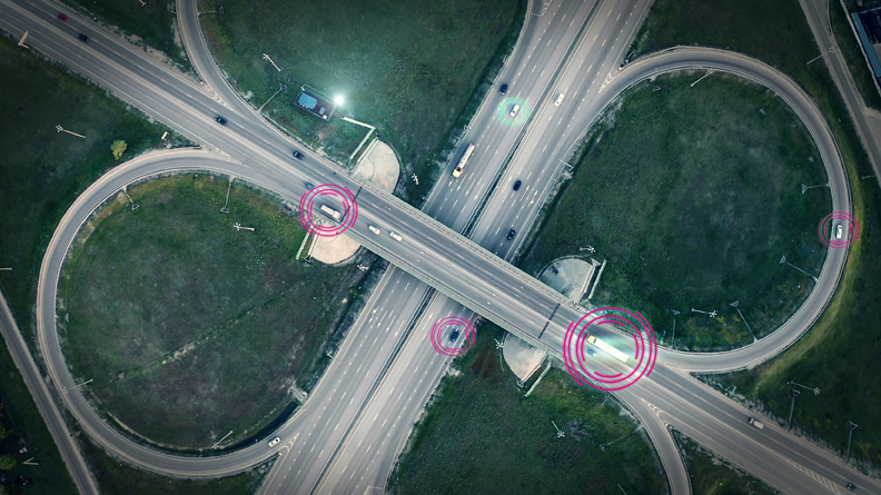 highway crossing from bird´s eye view visualising transport optimization from wastebox