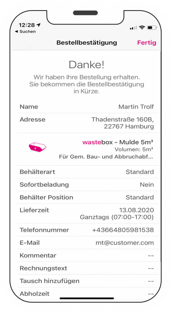 Screen der die Übersicht aller wastebox Bestellungen zeigt