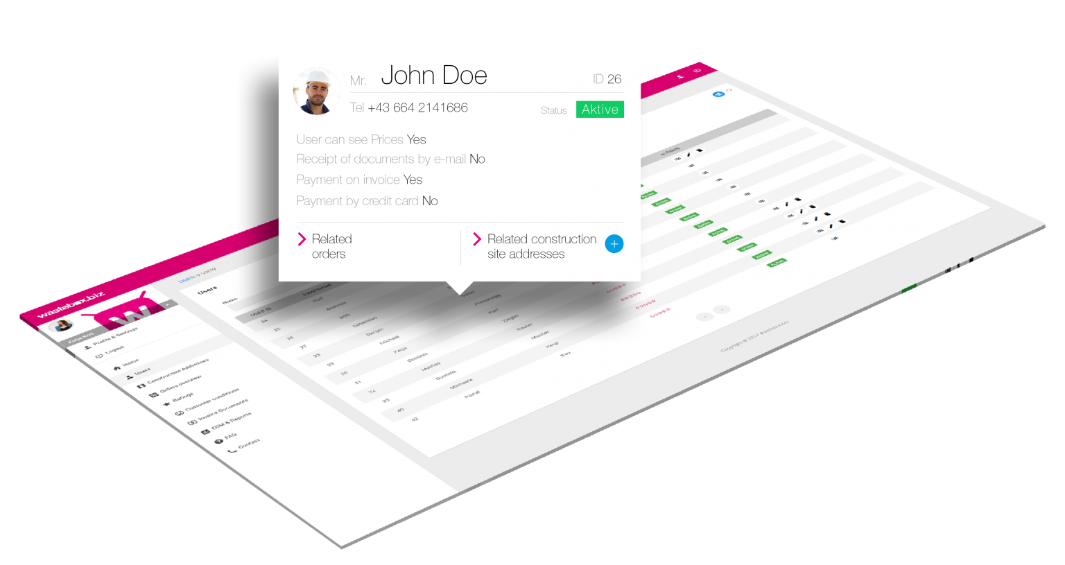 user management - wastebox.biz web portal